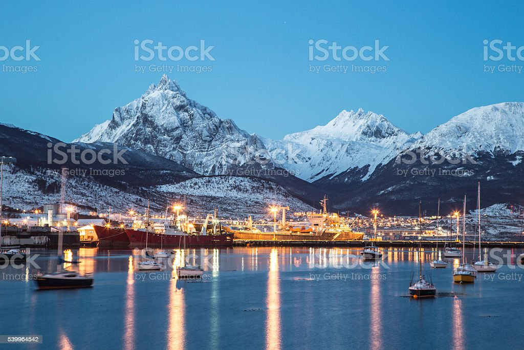 Amazing view of Ushuaia city at night stock photo
