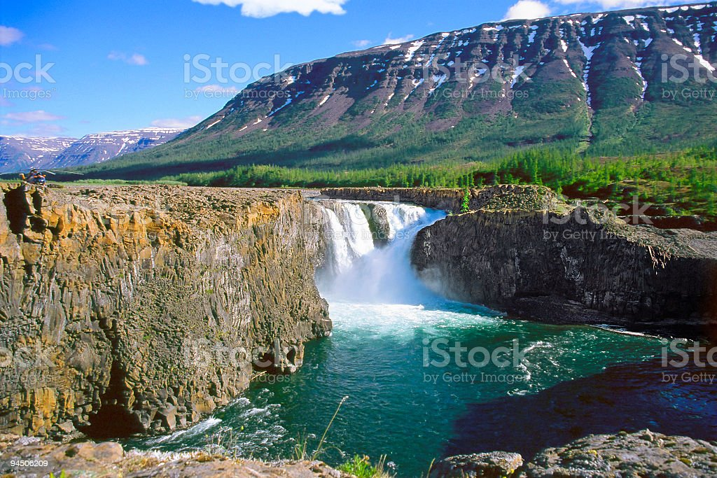 Amazing view on waterfall and landscape. stock photo