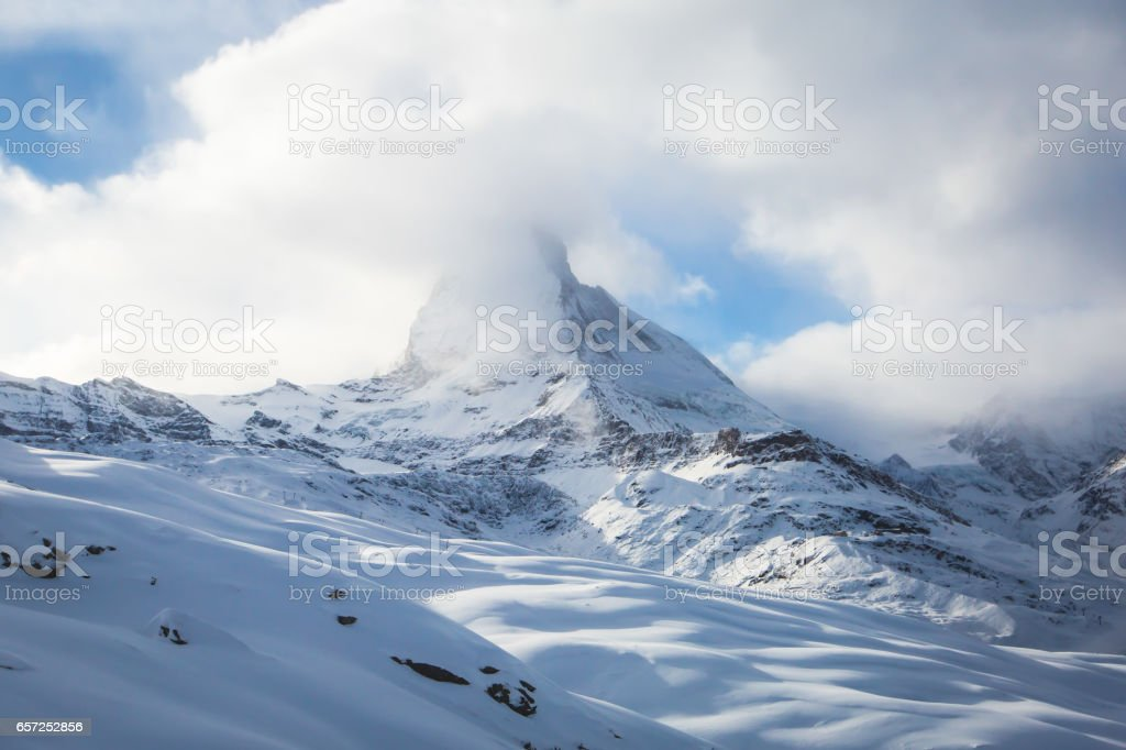 Amazing view on Zermatt - famous ski resort in Swiss Alps, with aerial view on Zermatt Valley, Switzerland stock photo