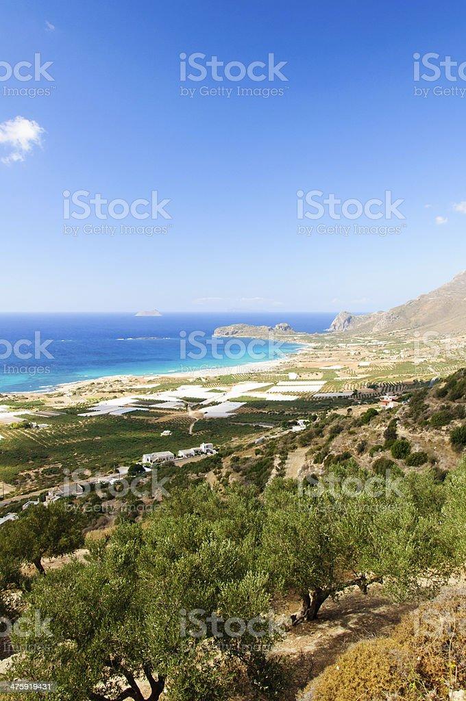 Amazing view over the bay of Falassarna, Crete island, Greece stock photo