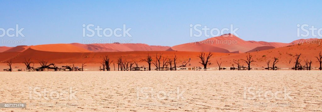 Amazing view over the Sossusvlei in the Namib Desert in Namibia stock photo