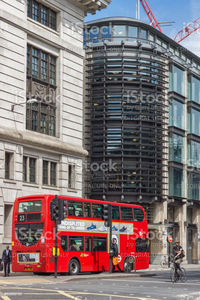 LONDON, ENGLAND - JUNE 15 2016: Amazing view red bus in city of London, England stock photo
