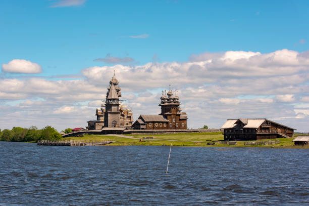 Amazing view to ancient traditional Russian churches at Kizhi island in Russia Amazing view to ancient traditional Russian churches at Kizhi island in Russia republic of karelia russia stock pictures, royalty-free photos & images
