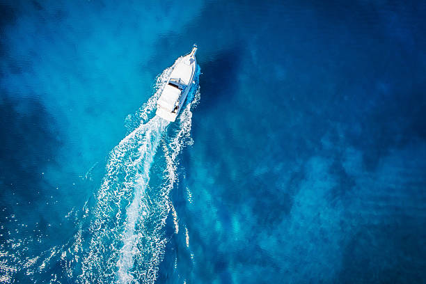 Amazing View to boat in coral coast stock photo