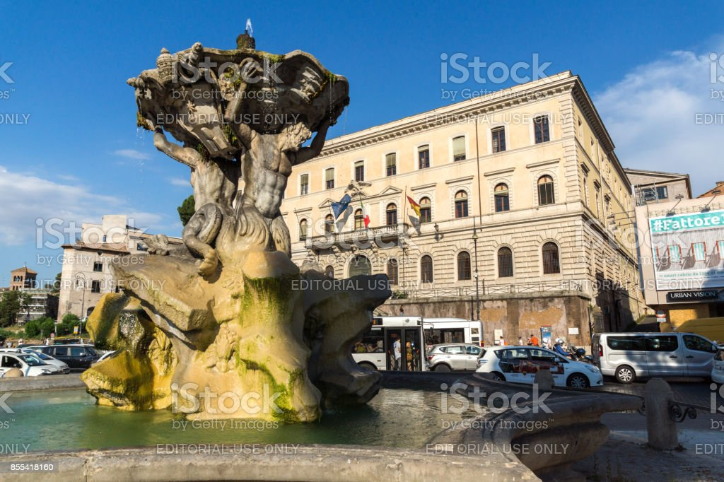 Amazing view to Fountain of the Tritons in city of Rome, Italy stock photo