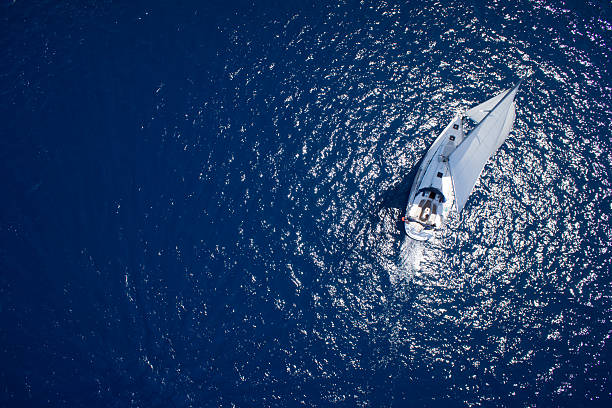 Amazing view to Yacht sailing in open sea stock photo