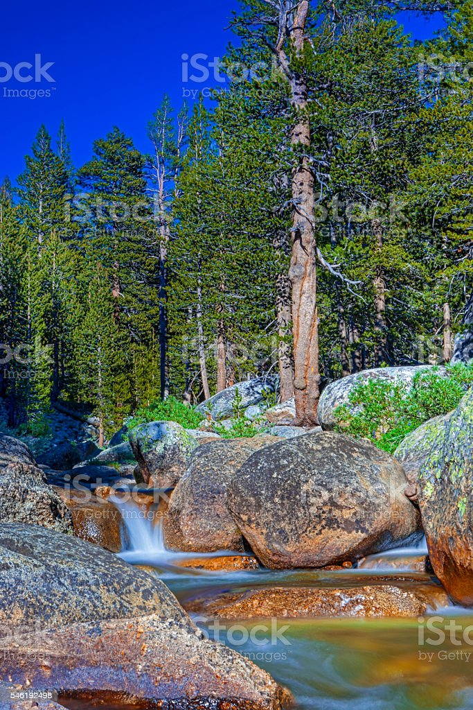Amazing Water Streams Shot in Yosemite National Park in California stock photo