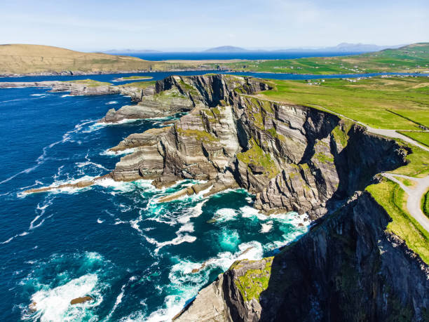 Amazing wave lashed Kerry Cliffs, widely accepted as the most spectacular cliffs in County Kerry, Ireland stock photo