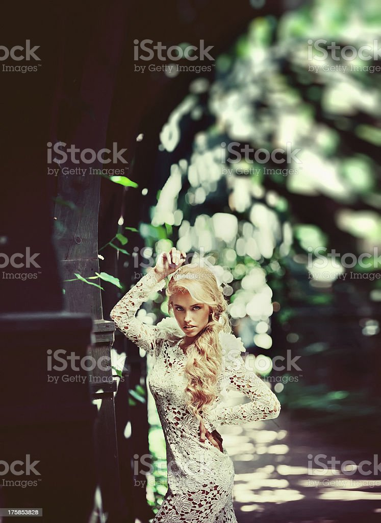 Amazing wedding fashion model in the posing outdoors. royalty-free stock photo