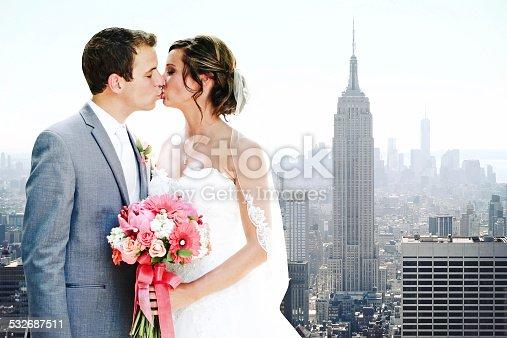490225014istockphoto Amazing Wedding Kiss, Empire State Building, New York City 532687511
