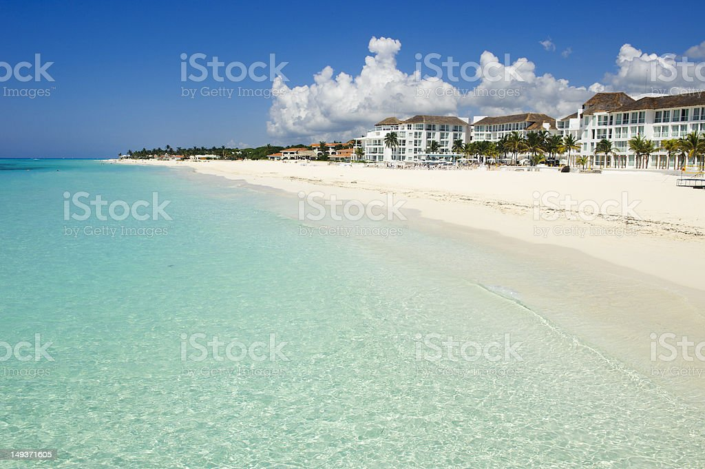 Amazing white sand caribbean beach stock photo