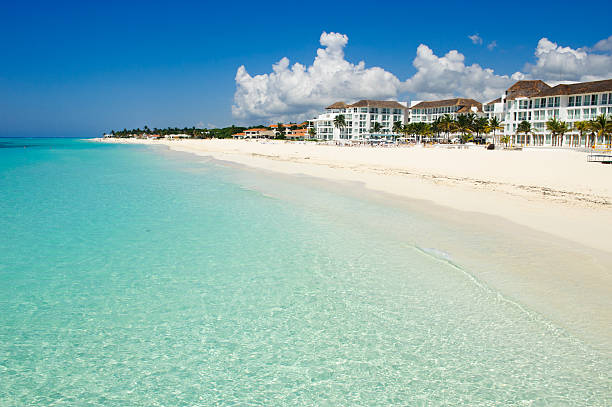 amazing white sand caribbean beach - playa del carmen stock photos and pictures