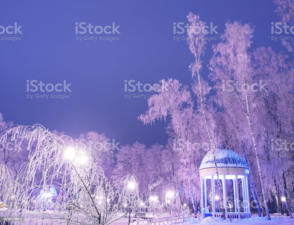 Amazing winter landscape in evening park. Gazebo, lantern lights, snow and frosty trees. Artistic picture. Beauty world. stock photo