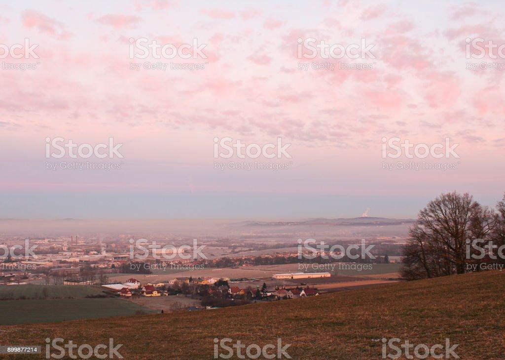 Amazing winter sunrise over city Ceske Budejovice, Czech landscape stock photo