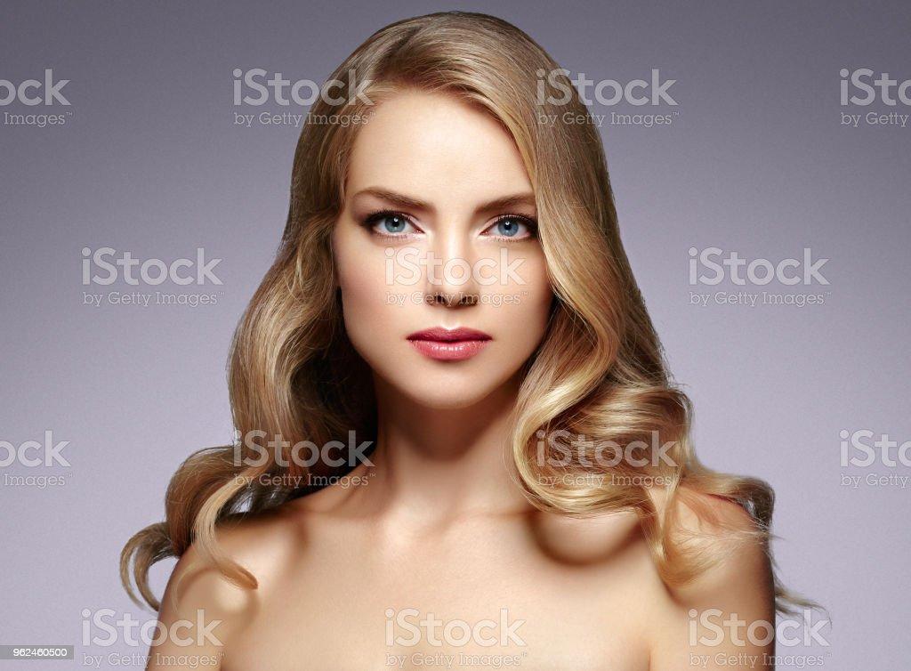 Amazing Woman Blond. Beautiful Girl studio face portrait. Studio shot.
