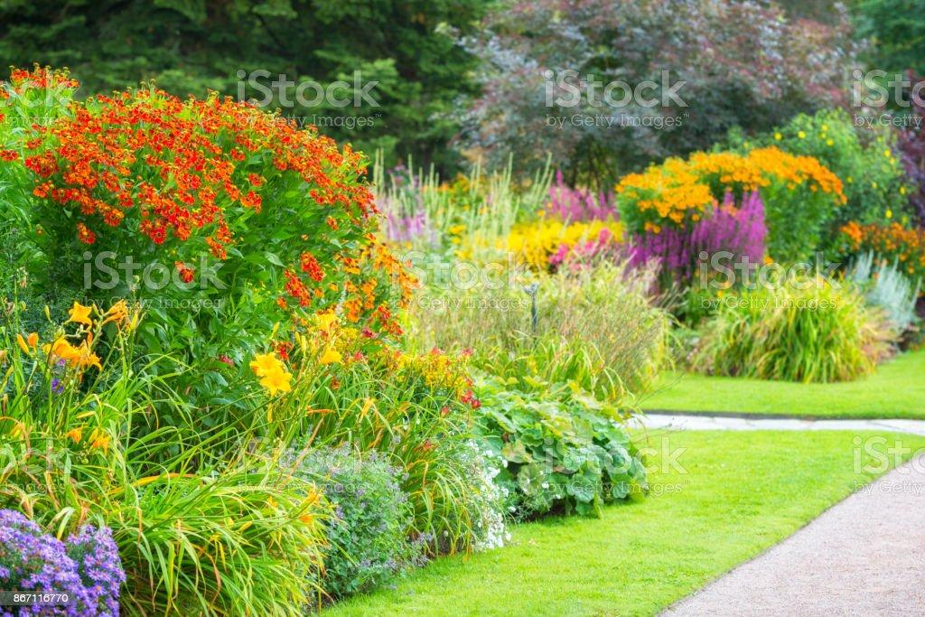 Amazingly Colorful flowerbeds stock photo
