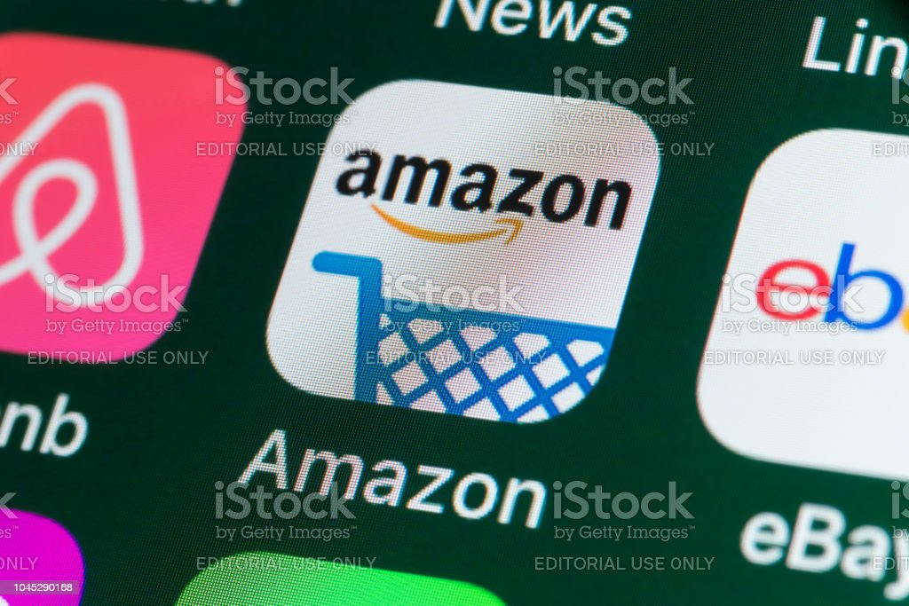 Amazon Airbnb Ebay News And Other Apps On Iphone Screen Stock Photo Download Image Now Istock