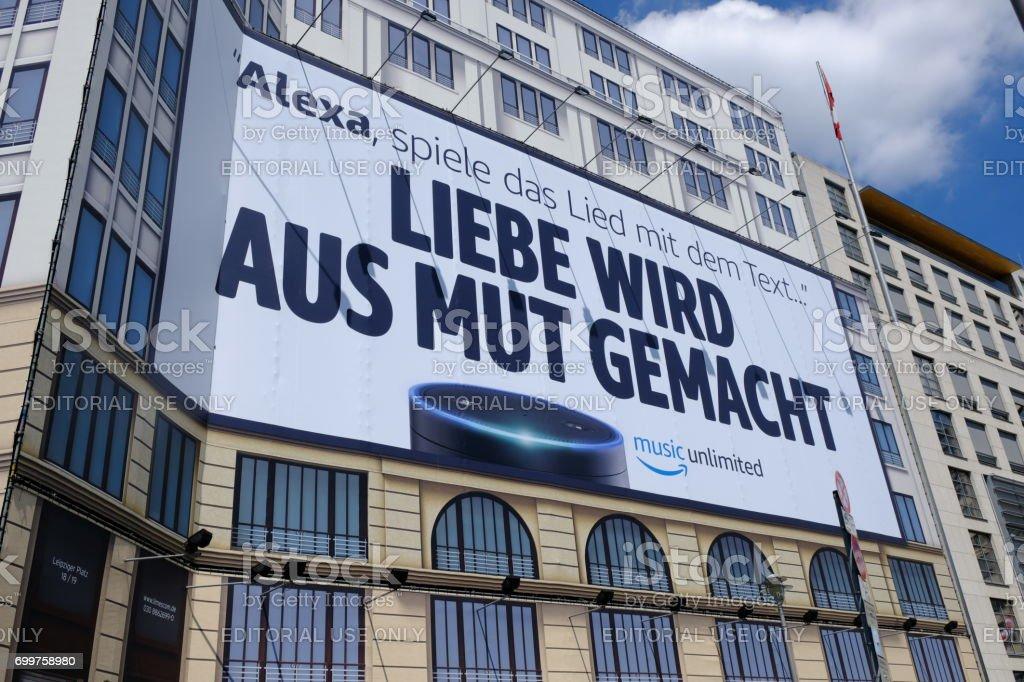 Amazon Alexa advertisement signboard stock photo