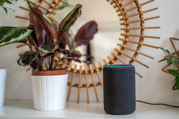 Amazon Alexa Echo Plus on a white table with green plants in the background stock photo