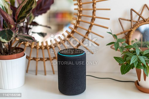 VIENNA,AUSTRIA - April 4 : Amazon Alexa Echo Plus on a white table with green plants in the background