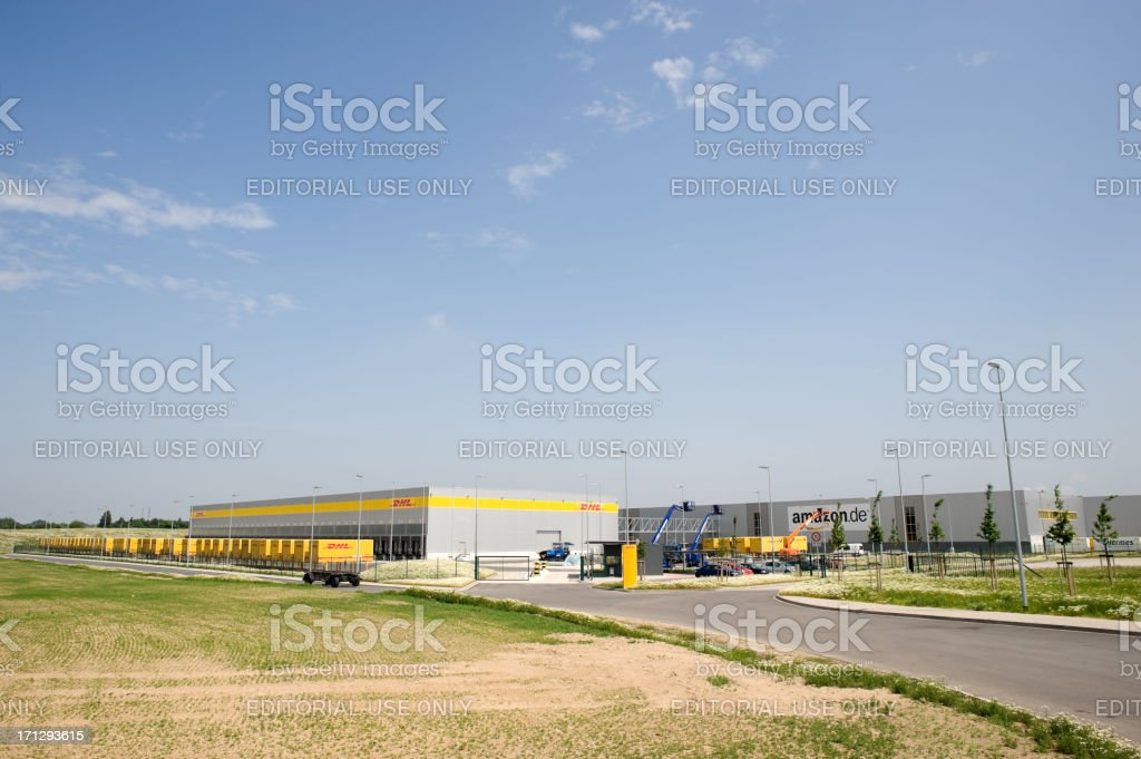 Amazon ,  DHL logistic and distribution hub stock photo