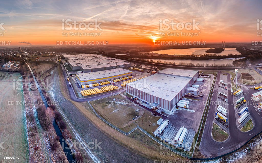 Amazon distribution center, aerial stock photo