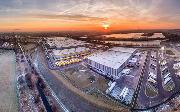 Amazon distribution center, aerial stock photo