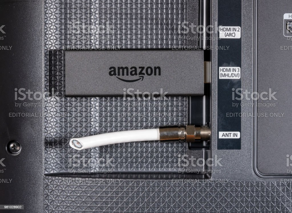 Amazon Fire TV streaming stick by cut antenna cord stock photo