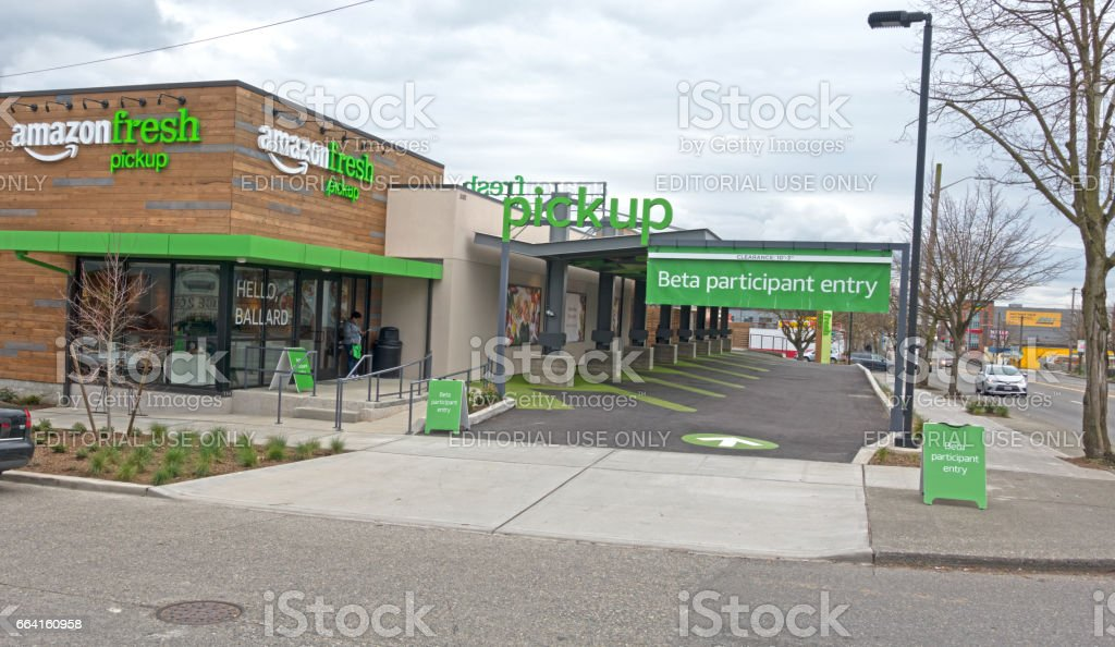 Amazon Fresh Pickup Store Opens in the Ballard Neighborhood of Seattle, Washington stock photo
