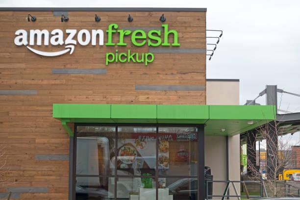 Amazon Fresh Pickup Store Opens in the Ballard Neighborhood of Seattle, Washington stock photo