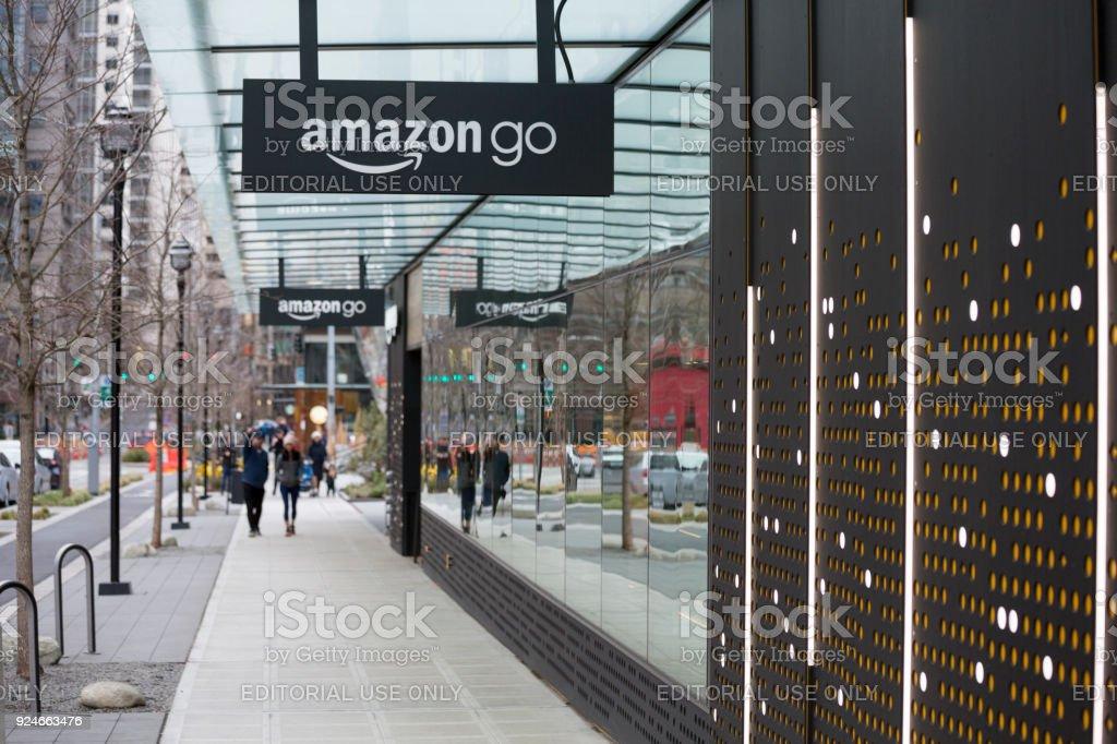 Amazon Go Automated Shopping at Headquarters Building, Seattle Washington USA stock photo