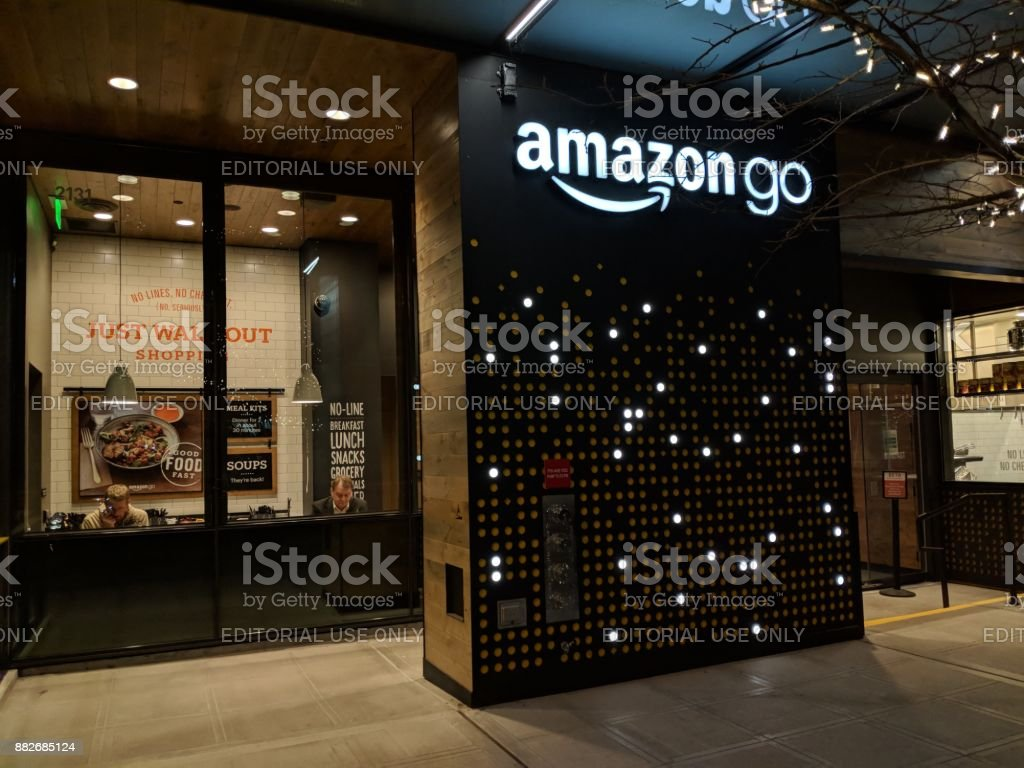 Amazon ir tienda de prueba Beta en el Campus de Amazon en Seattle - foto de stock