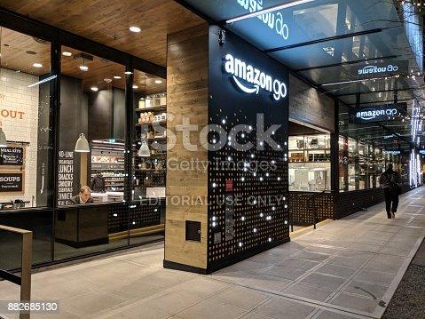 496586115 istock photo Amazon Go Beta Test Store on the Amazon Campus in Seattle 882685130