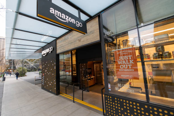 Amazon Go Store Where Cashierless Technology Enables Customers to Just Walk Out With Their Goods With No Lines or Checkout stock photo