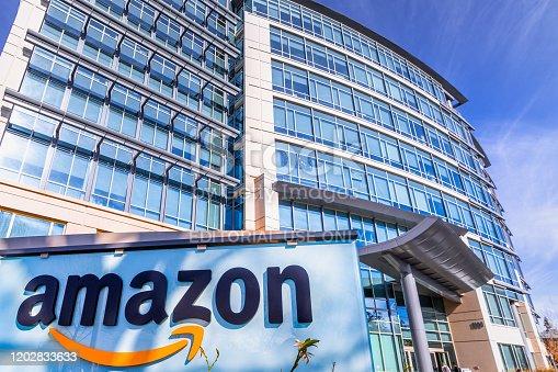 496586115 istock photo Amazon headquarters located in Silicon Valley 1202833633