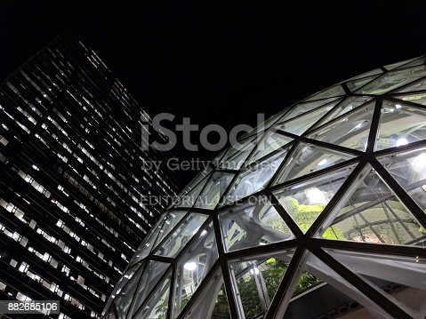 istock Amazon Headquarters Skyscraper and Biosphere 882685106