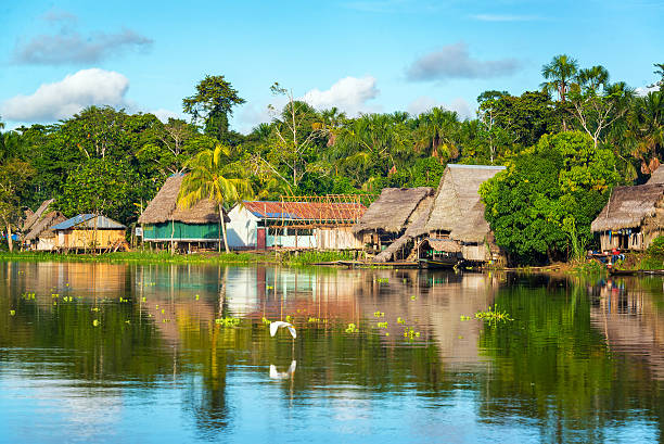 Amazon Jungle Village stock photo