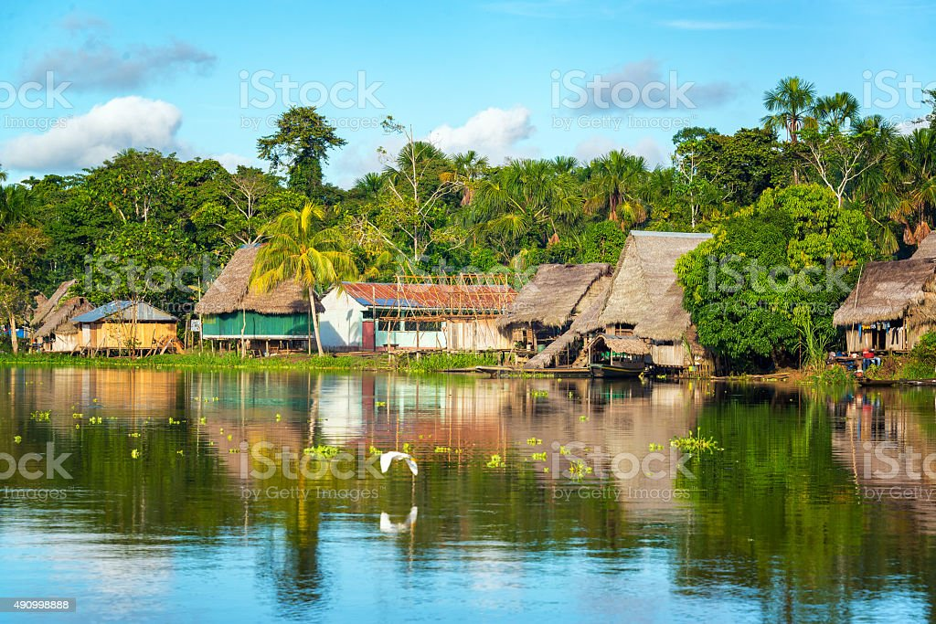 Amazon Jungle Village stock photo