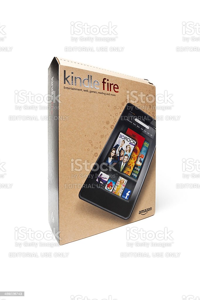 Amazon Kindle Fire retail box royalty-free stock photo