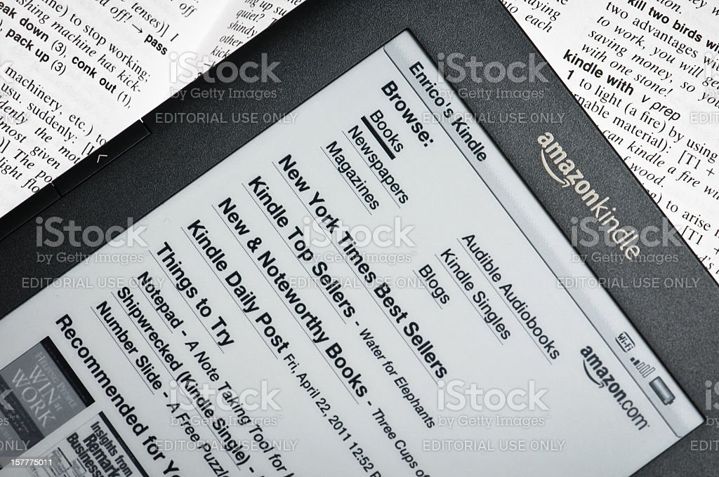 Amazon Kindle Reading Device Stock Photo & More Pictures of
