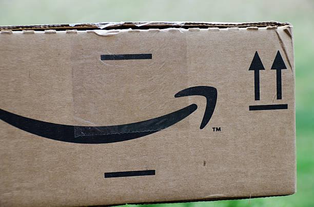 Amazon logo on box stock photo