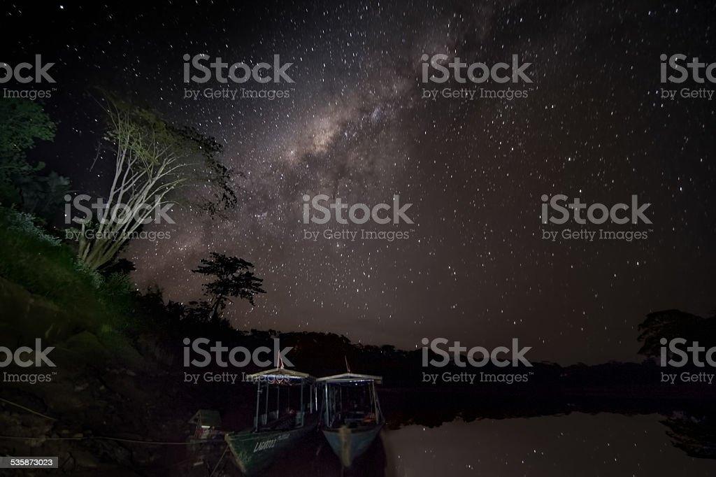 Amazon milky way night photo in the jungle stock photo