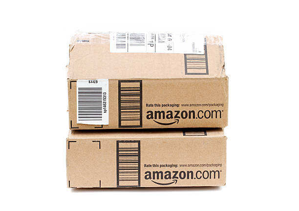 Amazon online retailer packages stock photo
