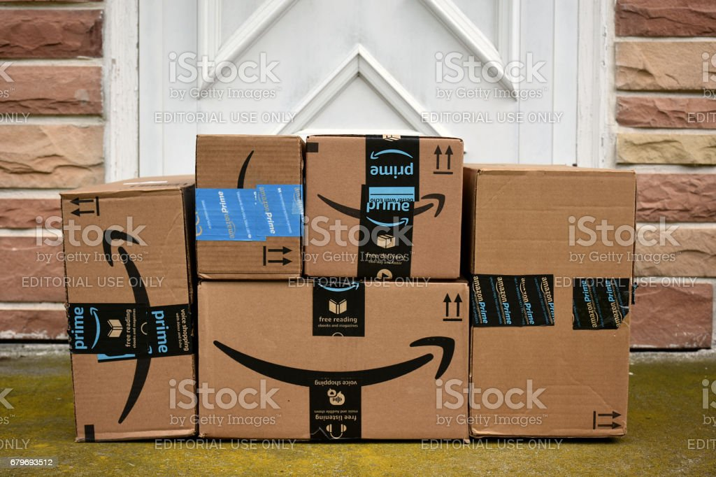 Amazon HAGERSTOWN, MD, USA - MAY 5, 2017: Image of an Amazon packages. Amazon is an online company and is the largest retailer in the world. Airtight Stock Photo