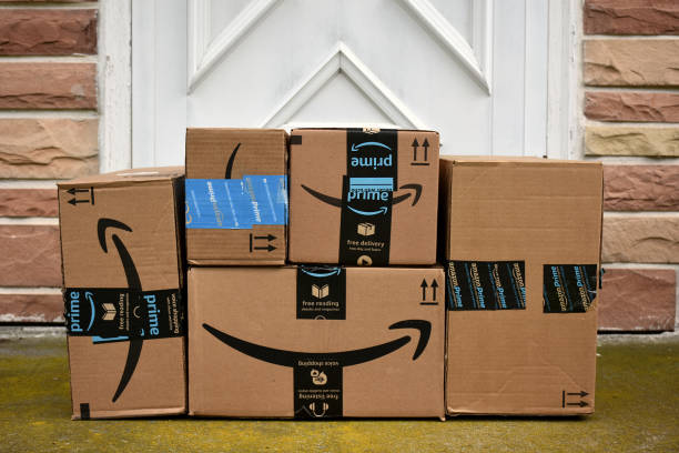 Amazon HAGERSTOWN, MD, USA - MAY 5, 2017: Image of an Amazon packages. Amazon is an online company and is the largest retailer in the world. amazon stock pictures, royalty-free photos & images