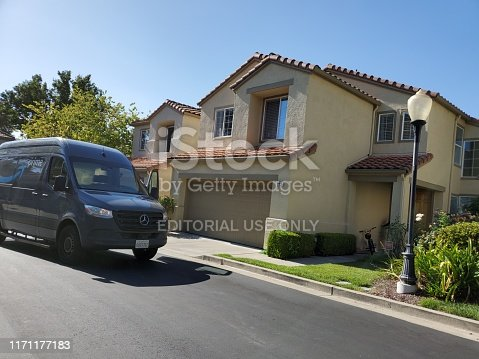 San Ramon, California, United States - August 29, 2019:  Amazon Prime delivery truck delivering packages in San Ramon, California, August 29, 2019