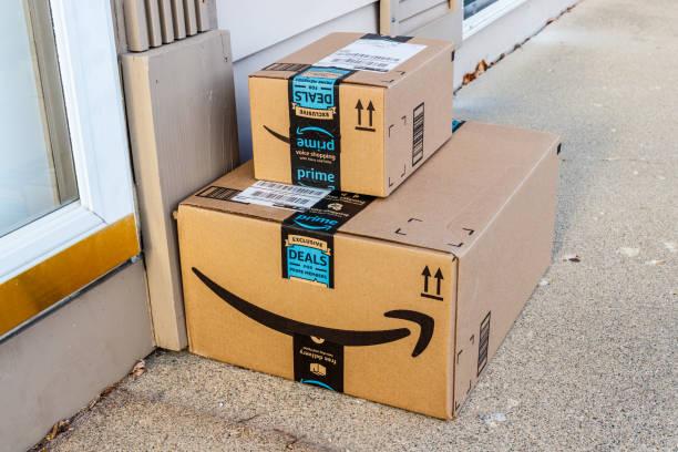 Amazon Prime Parcel Package. Amazon.com is a premier online retailer I stock photo