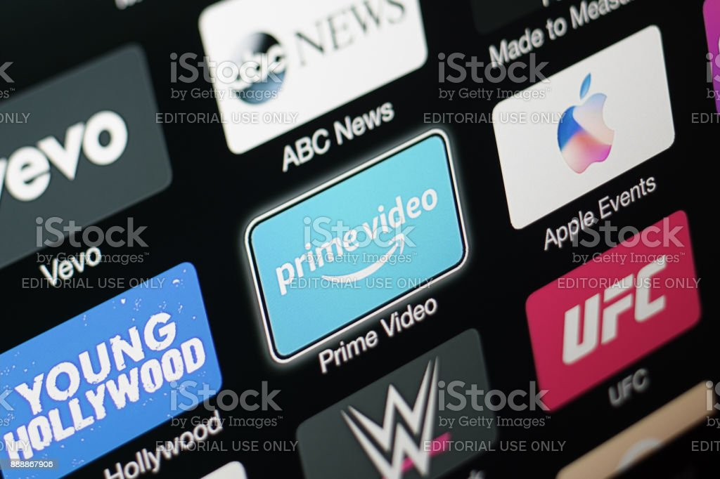 Amazon Prime Video app on Apple TV 3rd generation stock photo