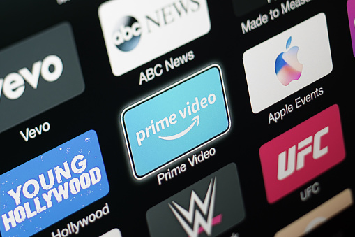 Amazon Prime Video App On Apple Tv 3rd Generation Stock Photo - Download Image Now