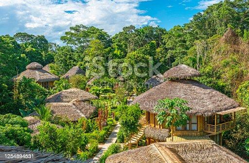 Amazon rainforest lodge in summer, Yasuni national park, Ecuador.